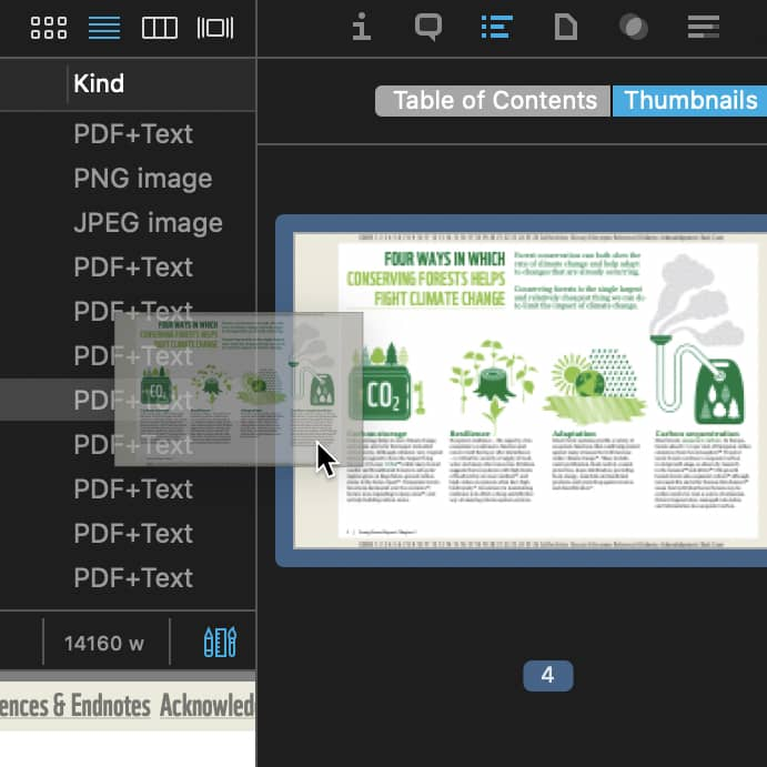 Dragging a thumbnail out of the PDF thumbnails list.